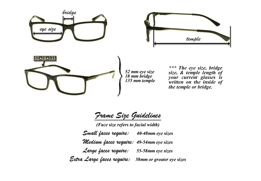 Glasses Frame Measurements : PremierOptical > Frame Size Measurements